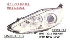 FORD FIESTA MK 7 HEADLIGHT / LAMP  2008+   PASSENGER  SIDE  N/S  CHROME